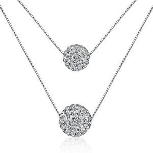 Jewelry - NEW 925 Sterling Silver Double Crystal Ball Chain